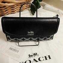 New Coach  46647 Madison Opt Art  Checkbook Wallet Sv/black    Free Shipping Photo