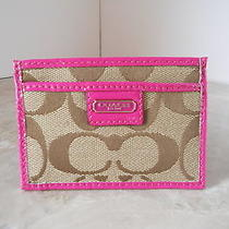New Coach 48690b  Card Case Sv/khaki/magenta With Gift Box Nwt 42 Photo