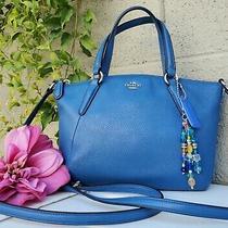 New Coach 57563 Mini Kelsey Lapis Blue Pebble Leather Crossbody Satchel Purse  Photo