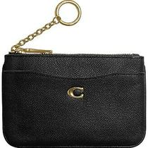 New Coach 68334 Leather Key Ring Zip Coin Wallet Card Case Black Small Nwt  Photo
