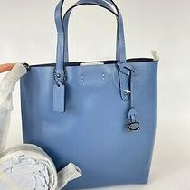 New Coach 78217 Refined Calf Leather Central Shopper Tote Bag Stone Blue 250 Photo