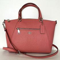New Coach 79997 Prairie Satchel Pebble Leather Handbag Bright Coral / Silver Photo