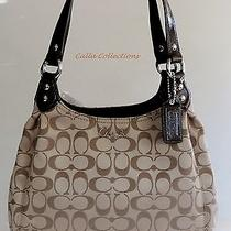 New Coach Ashley Signature Hobo Tote Handbag-Khaki/mahogany F21881 Photo