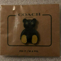 New Coach Black Ace Teddy Bear Pin Nwot  Yellow Feet Blue Eyes Sealed Photo