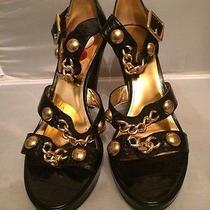 New Coach Black Crocodile Print Leather High Heel Fashion Sandals Size 9.5us Photo
