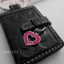 New Coach Black Embossed Signature Photo Frame Heart Keychain Keyring Key Fob Photo