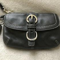 Newcoach Black Genuine Leather Front Buckle Flap Wristlet Photo