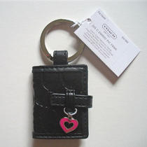 New Coach Black Signature C Embossed Picture Frame Key Chain F61849 Free Ship Photo