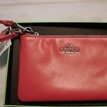 New Coach Boxed Smooth Leather Corner Zip Wristlet Dahlia 65985b Photo