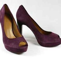New Coach Breana Suede Peep Toe Pumps Purple Plum Heels Size 7 178 Photo
