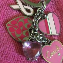 New Coach Breast Cancer  Mix Charm Key Chain Ring - Heart Pink Love Photo