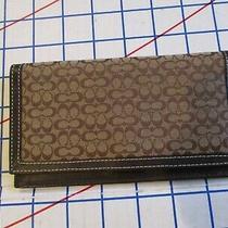 New Coach Brown C-Logo Canvas/dk Brown Leather Trim Checkbook/document Wallet Photo