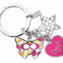New Coach Butterfly Star Heart Multi Mix Key Chain Ring  92721 Pink Multi Color Photo