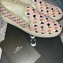 New Coach C117 Slip on Hearts Sneakers in Blush Fg2113 Size 7.5b Pink Photo