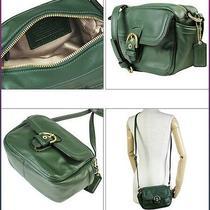 New Coach Campbell Leather Camera Bag Crossbody Green F25150 Rare  Photo