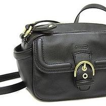 New Coach Campbell Leather Camera Crossbody  Messenger Bag Black Photo