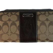 New Coach Canvas Accordion Wallet Coin Clutch Classic Khaki Brown Gold F54630 Photo