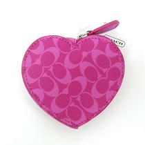 New Coach Chelsea Signature Heart Coin Purse F61634 Pink  Dust Bag Photo