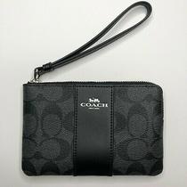 New Coach Classic Logo Signature Black Gray Wristlet Wallet Corner Zip Photo
