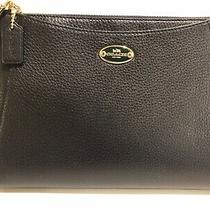New Coach Clutch Purse Black Pebbled Leather Single Zipper New With Tags F53417 Photo