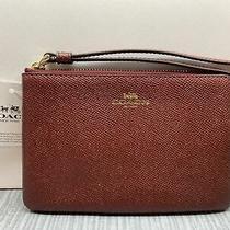 New Coach Clutch Wristlet Zippered Wallet Metallic Cherry 6x4 Photo