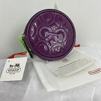 New Coach Coin Purse Gramercy Op Art Round Leather Purple Zip 44471 W13 Photo