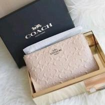 New Coach Corner Zip Wristlet Signature Debossed Patent Leather New Tag Photo