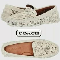 New Coach Crosby Driver Cream Perforated Suede Flats Women's 10 225 Photo
