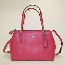 New Coach Crossgrain Leather Christy Satchel Handbag F34673 Sunset Photo