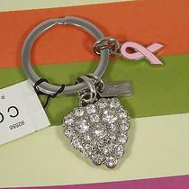 New Coach Crystal Heart Pink Ribbon Breast Cancer Key Ring Fob Chain 92555 Pave Photo