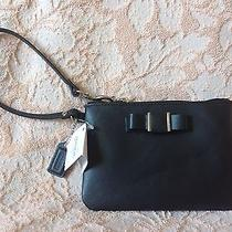 New Coach Darcy Bow Black Wristlet F51672 Nwt Iphone Wallet Photo