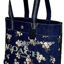 New Coach Denim Tote Painted Floral Box Print Blue Canvas Shoulder Bag 91049 Photo