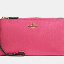 New Coach Double Zip Wallet in Polished Pebble Leather Confetti Pink Msrp 150 Photo