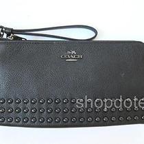 New Coach Double Zip Wallet Lacquer Rivets Pebble Leather Wristlet 53575 Black Photo