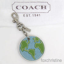 New Coach Earth Planet Globe Keychain Key Ring / Chain Fob Bag Charm Blue Green Photo