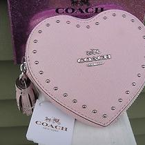 New Coach Edge Heart  Studs Light Pink Coin case.msrp99.00.100% genuine.no Box Photo
