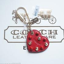New Coach Embellished Leather Heart Bag Charm 65180 Photo