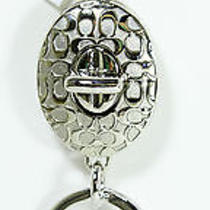 New Coach Embossed Signature Turnlock Valet Silver Key Ring Key Chain Fob F92813 Photo