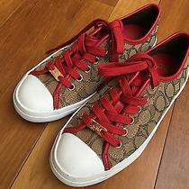 New Coach Empire Signature Sport Nappa Sneakers  Red Womens Size 6b Photo