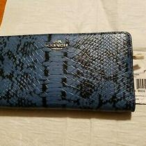New Coach Executive Navy Blue Leather Skinny Checkbook Wallet 53684 Nwt Photo