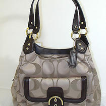 New Coach F24742 Campbell Signature Hobo Khaki/mahogany Photo