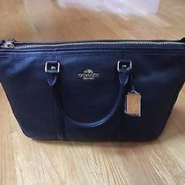 New Coach F55662 Central Satchel Handbag Pebble Leather Black Crossbody  Photo