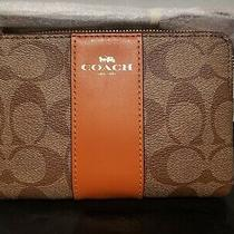 New Coach F58035 Pvc Leather Wristlet Khaki/sedona Photo