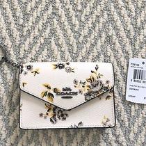 New Coach F59746 Prairie Floral Envelope Card Case Mini Wallet Key Ring Chalk Photo