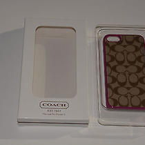 New Coach F64397 Signature Iphone 5 Cell Phone Case Cover Khaki/purple Pink Photo