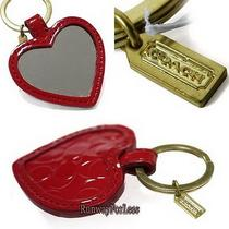 New Coach F67433 Embossed Liquid Gloss Heart Mirror Keychain Keyring Key Ring Photo