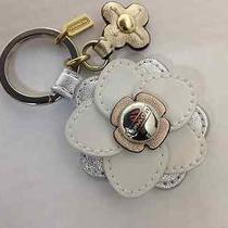 New Coach Floral Applique Flower Key Chain Stacked Leather Ring Fob Charm Bag Photo