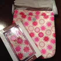 New Coach Floral Print Swingpack Crossbody With Iphone 5 Snap on Case Photo