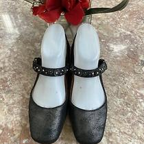 New Coach Floral Studs Metallic Black Leather Mary Jane Flats Sz 5.5 Retail 225 Photo