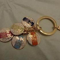 New Coach Gold Heritage Logo Medallion Discs Key Chain Ring Fob 92305 Photo
